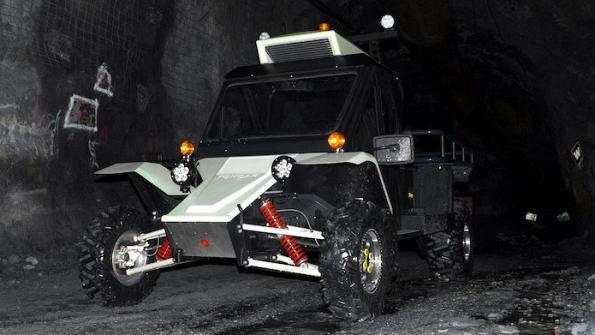The Tomcar LV1 is electric powered and designed for mining operations.